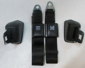Black Chevelle Seat Belts 1967 72 Gm A Body Retractable Black Seat Belt Pair