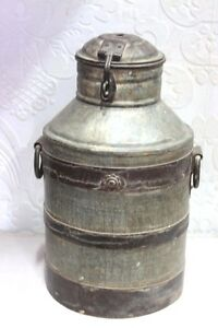 Vintage Antique Indian Handmade Iron Milk Can Decorative Collectible Ps100