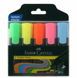 Faber castell Textliner Pack Of 5pen Assorted Highlighters Pens Free Shiping