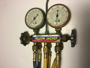 Yellow Jacket Test Charging Manifold Ritchie 2x Valves R 12 R 22 R 502 Hoses