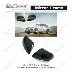 Carbon Cover Kit For 15 18 Bentley Bentayga Mulliner cp style Mirror Frame
