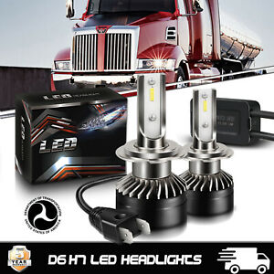2x H7 LED Headlight Kit High Low Beam CSP Chips Bulb Auto Truck For Western Star