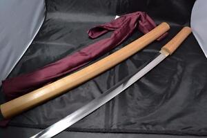 Japanese Samurai Real Sword Katana Sharp Steel Blade Shirasaya The Navy Antique