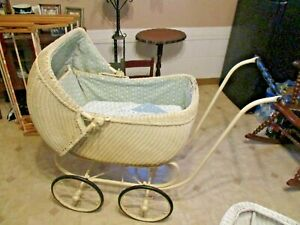 Antique Heywood Wakefield 1925 Ratan Baby Carriage Buggy Ivory 29 Tall