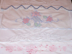 4 Outstanding Vintage Embroidered Pillowcases Cutwork Whitework Ex Cond 1930