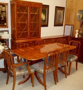 Rare Hard To Find Yew Wood Dinning Room Furniture China Buffet Table W 8 Ch