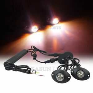 2in1 12 Led Hide Away Lights Surface Mount Vehicle Warning Strobe Amber White