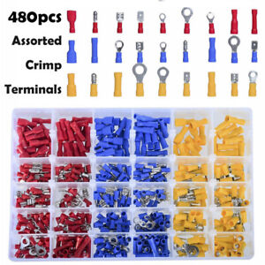 480pcs Insulated Assorted Electrical Wiring Connectors Crimp Terminals Set Kits