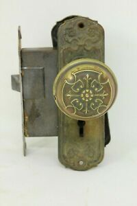 Reclaimed Vintage Antique Victorian Ornate Eastlake Brass Door Knob Lock Set