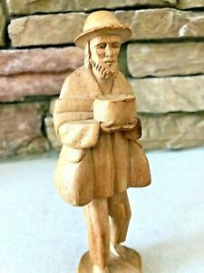 Vintage Folk Art Hand Carved Figurine Of Barefooted Old Man Selling His Wares 8