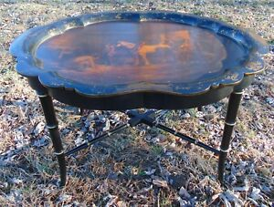 Mid 19th C Jennens And Bettridge Scalloped Tray Stand Horse Stable Table
