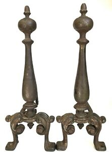 Early 20th Century Cast Iron Andirons 16 75 Vtg Antique United Fire Dog
