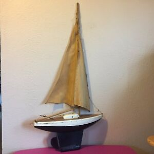 Vintage Wood Handmade Model Project Yacht Sailboat Pond Boat 15 5 L 32 5 H