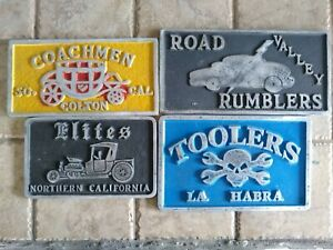 Car Club Plaque Set All Four Muscle Car Garage Art Ac Delco Mopar Hemi Parts Sbc