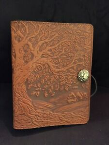 Oberon Design Leather Tree Of Life 3 Ring Agenda Planner Notebook Rare