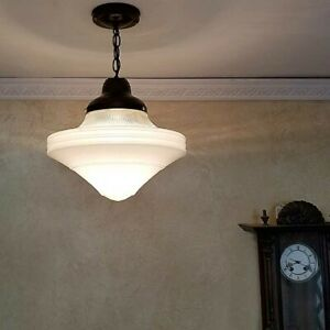 550b Large Art Deco Ceiling Light Lamp Fixture Glass Shade Pendant