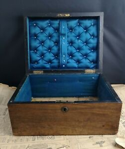 Victorian Solid Pine Sewing Box Lockable Without Key Satin Lined Antique Box