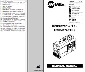 Miller Trailblazer 301 G Dc Service Technical Manual