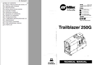 Miller Trailblazer 250g Parts Technical Service Manual