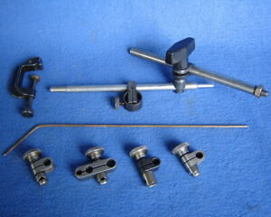 Lot Starrett Dial Indicator Clamp Snug Upright Post Rod Swivels Base Parts