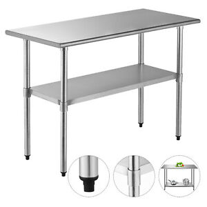 Food Pre Work Table 24 x48 Home Commercial Kitchen Restaurant Stainless Steel