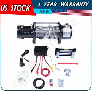 Offroad Electric Winch Towing 9500lbs 12v 80 Steel Rope For 91 19 Ford Explorer