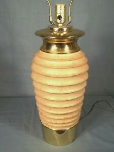 Mid Century Modern Ceramic Sand Colored Ribbed Urn Lamp On A Brass Base