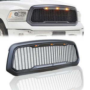 Fit 2013 2017 Dodge Ram 1500 Grille Grill Mesh Raptor Style Front Hood Light Abs