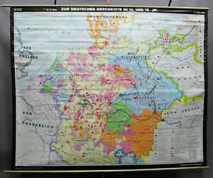 Vintage Roll Up Wall Chart German History Poster Print Map14th 15th Centuries