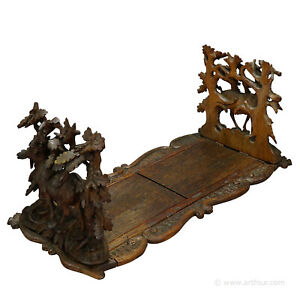 Carved Wood Bookends With Mountain Goats Swiss 1900