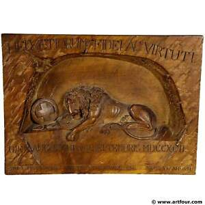 Swiss Lion Relief Carving Ca 1900