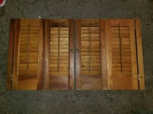 Vtg Pair Wooden Window Shutters