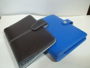 Two Compact Planners Blue Brown Faux Leather Binder Organizer Rings 1 Size