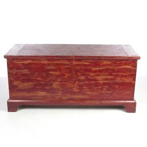 Antique Blanket Chest Painted Red Poplar Wood Trunk Hope Box 19th C