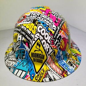 Full Brim Hard Hat Custom Hydro Dipped Hoonigan Sticker Bomb Full Color New