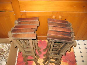 10 Antique Cast Iron Theater Seat Legs With Oak Arm Rests From Catskills Ny Area