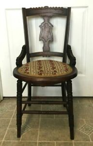 Antique 19th Century Victorian Carved Wood Needlepoint Floral Seat Side Chair
