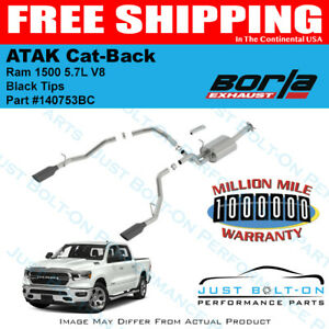 Borla Atak Cat back Black Tips 2019 Ram 1500 5 7l Crew quad New Body 140753bc