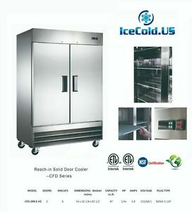 Reach in Solid Two Door Commercial Refrigerator Cfd 2rr e hc Stainless Cooler