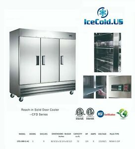 Reach in Solid Three Door Commercial Refrigerator Cfd 3rr e hc Stainless Cooler