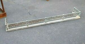 Large Antique Victorian Brass Or Bronze Fireplace Fender 65 Inches