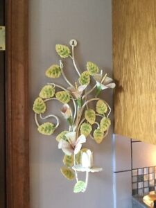 Vintage Shabby Chic Italian Toleware Floral Hibiscus Wall Sconce Candleholder