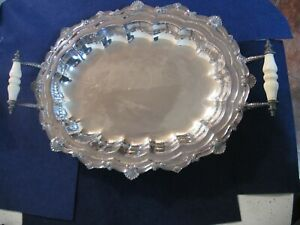 Antique Silver Plate Serving Tray 20 3 8 By 14 1 4 W Handles And Ball Feet