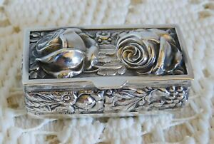 Gorgeous Small Antique Sterling Silver Floral Repousse Rose Trinket Pill Box