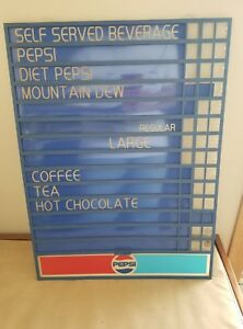 Vtg pepsi Changeable Plastic Sign Menu Board Advertising 21 75 X 16 25