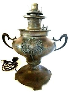 Antique Ornate 1880s B H Bradley Hubbard Kerosene Oil Lamp Electrified