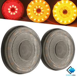 2 5 Switchback Led Red amber Drl Turn Signal Side Marker Light Bulbs Smoked Len