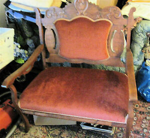 Set Of 2 Victorian Matching Pieces Sofa Crinoline Chair Superb Condition