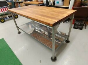 Vintage Refinished Kitchen Island Butcher Block Table Top Industrial Size