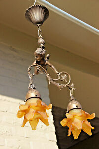 French Bronze Putti Angel Pendant Chandelier 2 Arms Amber Glass Tulip Shades